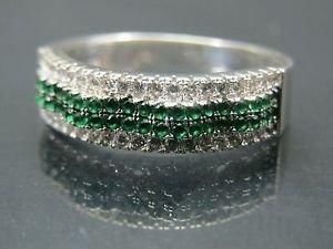 Hand-Made Turkish .925 Fine Silver Women's Wavy Emerald Ring with White Zirconia