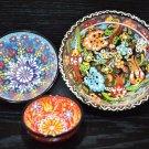 Handmade Turkish Ottoman Hand Painted, Set of 3 Ceramic Porcelain Nesting Bowls