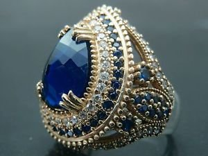 Turkish Hand-Made .925 Fine Silver Women's Tear Drop Hurrem Style Sapphire Ring