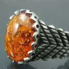 Antique Hand-Made Turkish .925 Fine Silver Men's Spicy Orange Fire Amber Ring