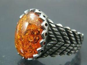 Antique Hand-Made Turkish .925 Fine Silver Men's Spicy Orange Fire Amber Ring