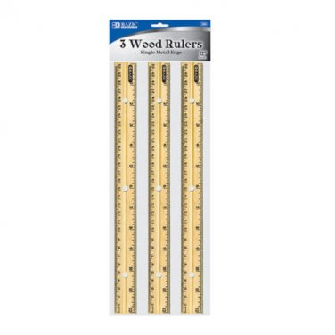 "12"" Inch, 30cm Wooden Rulers With Single Metal Edge - 3x Wooden Rulers in 1 Pack"