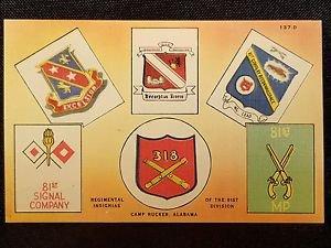 VINTAGE  POSTCARD REGIMENTAL INSIGNIAS OF 81ST DIVISION CAMP RUCKER ALABAMA