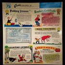 VINTAGE SALESMAN SAMPLE SHEET POSTCARDS LICENSE FOR EVERYTHING
