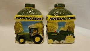 John Deere Salt & Pepper Shakers Set Gibson Ceramic Green Yellow Tractors Deer