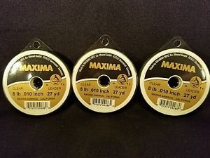 Maxima Clear 8 lbs 27yds Leader Material Fishing Line 3 PACK