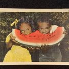 BLACK AMERICANA VINTAGE  POSTCARD WATERMELON