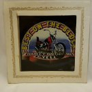 "Vintage 80s HARLEY ""BOTB"" 6X6 Carnival Fair Bar Mirror Prize Painted Glass"