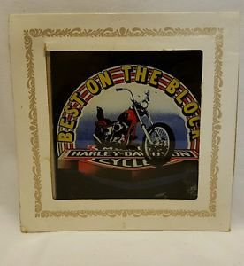 """Vintage 80s HARLEY """"BOTB"""" 6X6 Carnival Fair Bar Mirror Prize Painted Glass"""