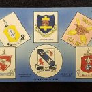 VINTAGE  POSTCARD REGIMENTAL INSIGNIAS OF 81ST DIVISION CAMP RUCKER ALABAMA blue