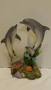 MARURI STUDIO WONDERS OF THE SEA 2 DOLPHINS PORCELAIN WS 9407