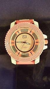 ICE NATION 2 Tone Pink/White Band CZ Stone Fashion Techno Bling Watch