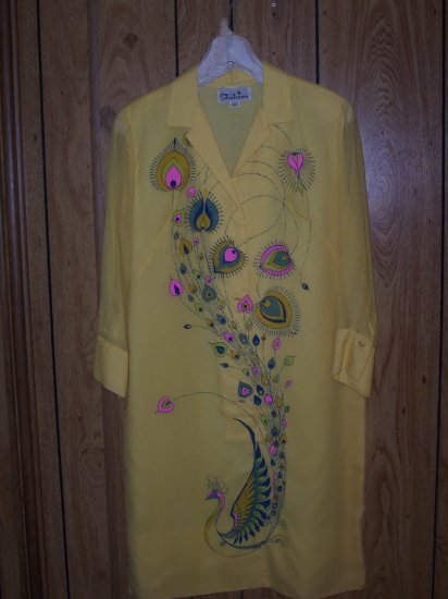 Alfred Shaheen signed Yellow Peacock Dress