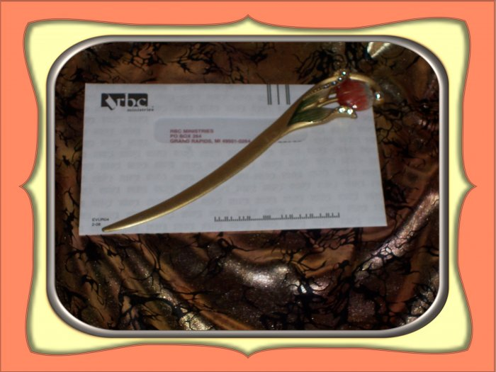 Old Metal Letter Opener with Tulip and Jewel design