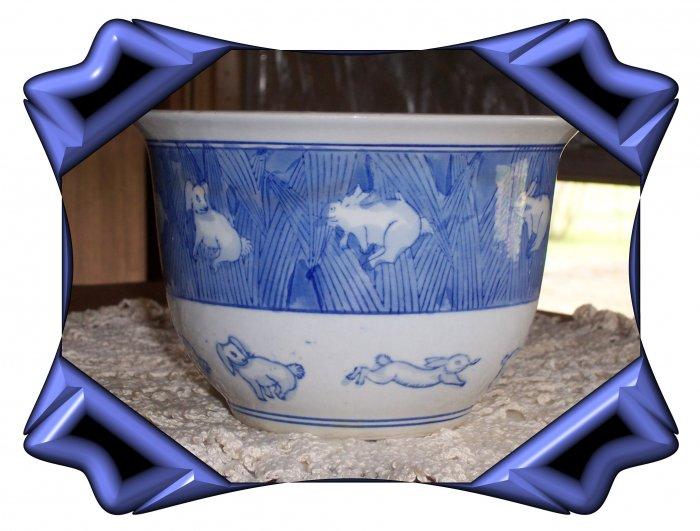 Flower Pot with Rabbit Design