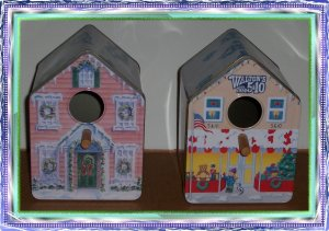 Two Tin Birdhouses