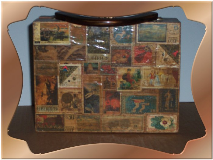 Wood Purse Decoupaged with Stamps