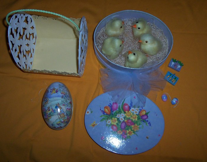 Baby Chicks in a Box, Daisy Basket & Eggs