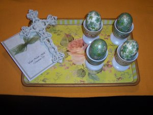Boiled Egg Holders, Cross, Card on Decorative Tray