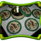Green Rooster  6 Piece Cork Coaster Set