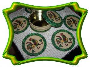 Green Rooster  6 Piece Cork Coaster Set
