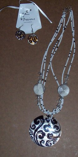 Precious Black/White Necklace and Earrings Jewelry
