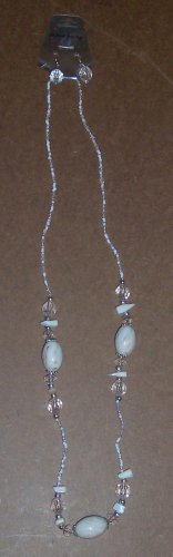 Fashion Jewelry white/tan/clear Necklace and Earrings