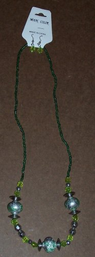 Moon Color Green/Silver Necklace and Earrings Jewelry