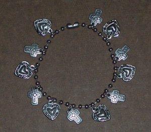 Silver Heart and Cross Bracelet