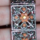 Old Antique Silver Bracelet with Coral Colored Beads