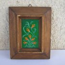 Vintage marvelous wall decor Enamel on copper floral painting