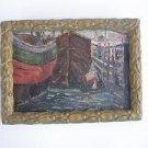 Russian Marina Landscap  - unidentified artist - oil on heavy board - Signed