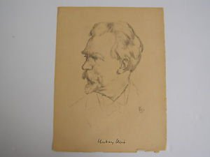 Russian portrait - unidentified artist - marvelous drawing on paper 1926