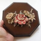 Marvelous Floral Wall Relief Sculpture Plaque attached to Heavy Board