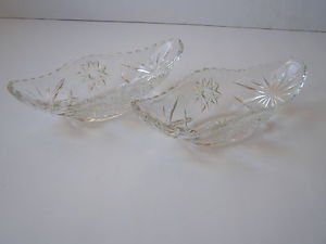 Pair of Marvelous American Brilliant Cut Glass Oval Candy/Fruit Dish