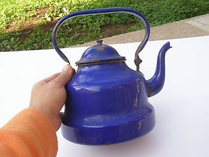Vintage Marvelous Enamel Unusual Blue Teapot Kettle