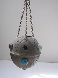 Rare Antique Sphere HAMMERED Copper Lamp Cover   W O W