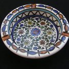 Vintage Israel Hand Painted Ceramic Floral Ashtray