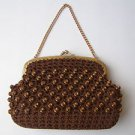 Vintage  MARVELOUS  Brown Beads Women's Evening Purse