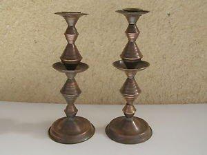 Vintage Marvelous Jewish Judaica Sabbath Brass Candleholders North Africa Style