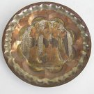 Vintage Egypt Egyptian Tin & Copper Inlaid in Brass Hammered Plate