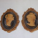 Pair Marvelous Vintage Wall Relief Chalkware Plaques