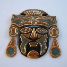 Vintage Marvelous Hand Made Brass Hammered Wall Hanging Relief Tribal Mask