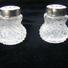Marvelous Vintage Miniature Pair Clear Glass Salt & Pepper Shakers