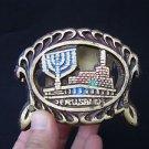 Vintage Marvelous Israel Jewish Judaica, Jerusalem Brass Napkin Holder