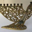 Marvelous Vintage Israel Jewish Judaica, Brass Hanukkah Lamp Menorah 1950's,60's
