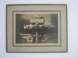 Rare 1920s Casket with Flowers PHOTO Marked Helm Studio by IDAHO