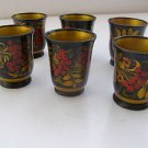Vintage Marvelous Lot of 6 Russian Wooden Hand Painted Collectable Cups