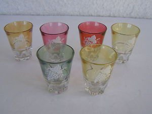Vintage marvelous complete set of 6 colorful Shot Glasses  W OW