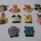 Vintage Lot of 10 plastic fridge colorful funny Magnets - GREAT PRICE